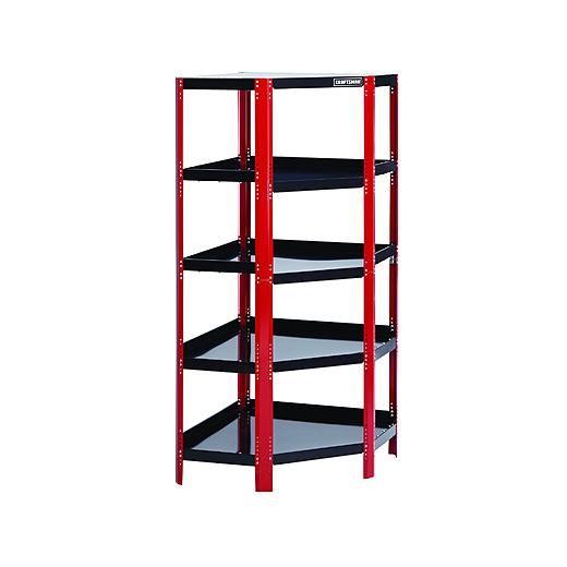 Craftsman Corner Steel Shelving Unit - Red/Black