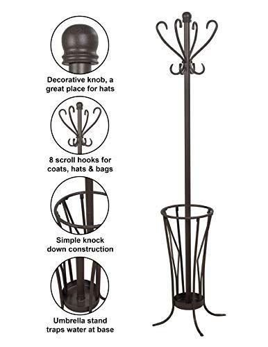 Coat /& Umbrella stand 8 coat hooks