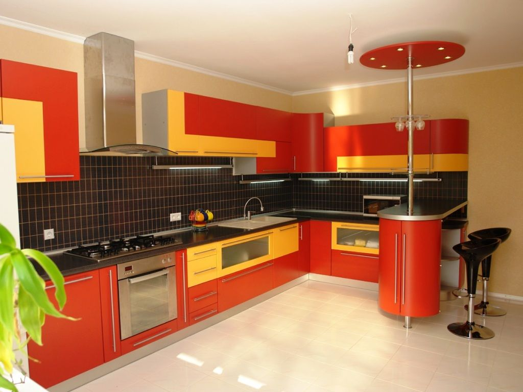 Marvellous Kitchen Design With Cream Wall Paint Color And Red Combined  Yellow Cabinet Decoration Also Modern