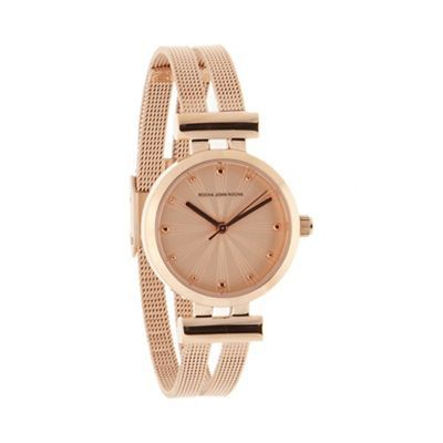 RJRJohn Rocha Designer Ladies Rose Gold Split Mesh Strap Watch