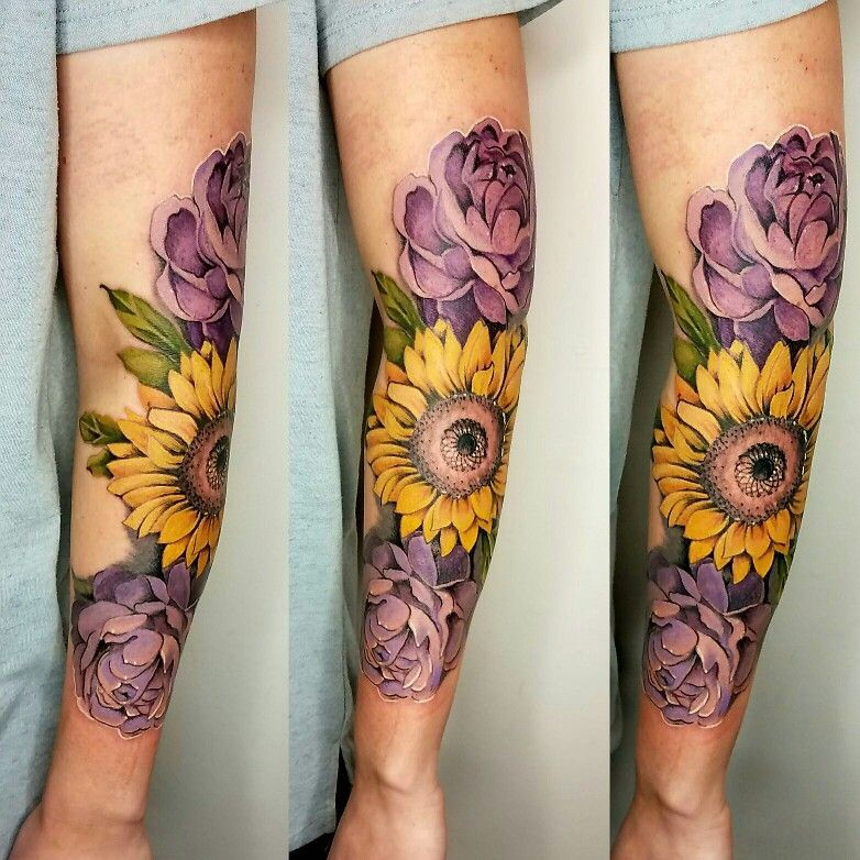 Floral Sleeve Tattoo Sunflower And Peony Tattoo Full Color Tattoo By Kelsey At Ink Ink In Springfie Floral Tattoo Sleeve Sunflower Tattoo Sleeve Sleeve Tattoos