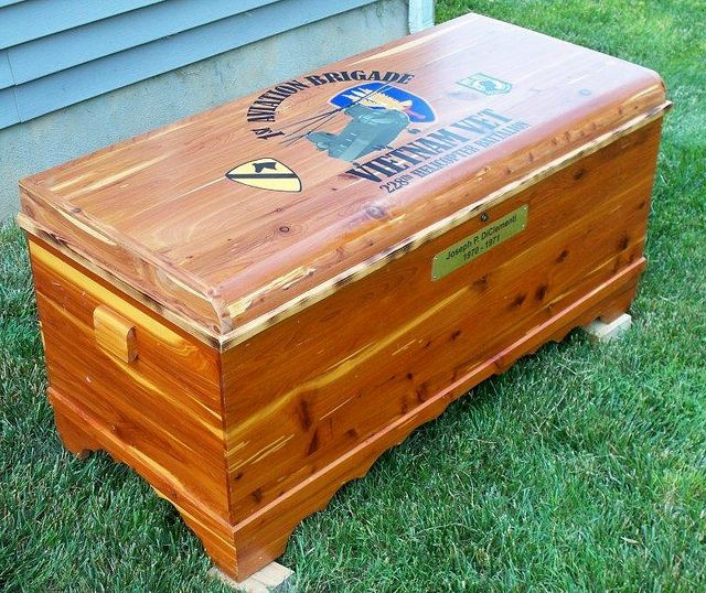 Cedar Chest made for a Vietnam Vet.   We added the design to the top.