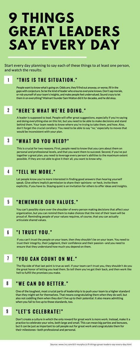 9 Things Great Leaders Say Every Day #learning