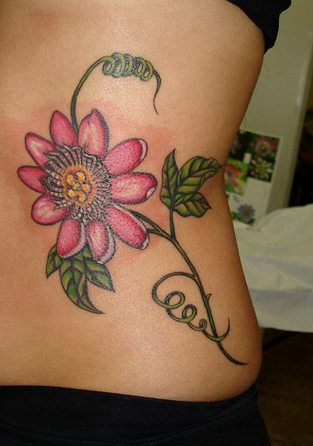 Passion Fruit Flower Flower Tattoo On Ribs Tattoos Fruit Tattoo