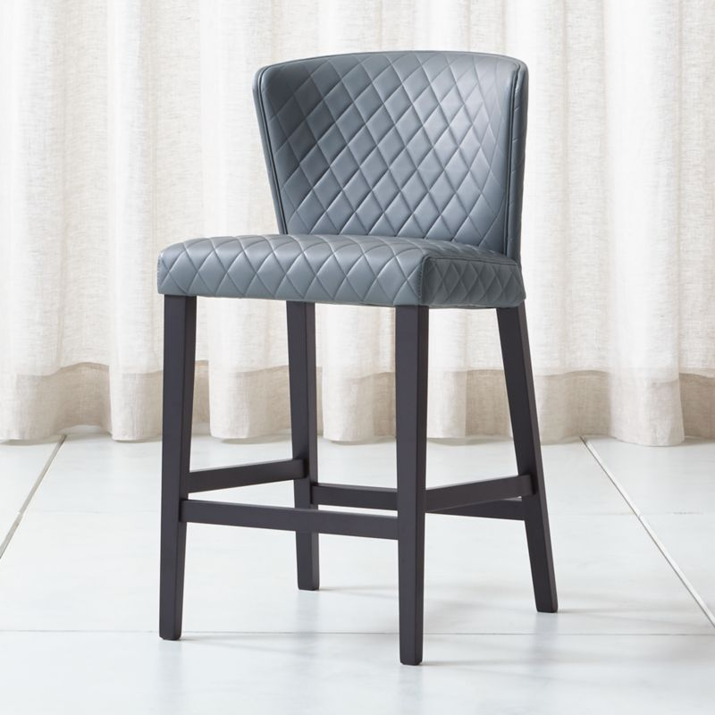 Curran Quilted Granite Counter Stool Reviews Crate And Barrel In 2020 Counter Stools Leather Counter Stools Brown Dining Chairs