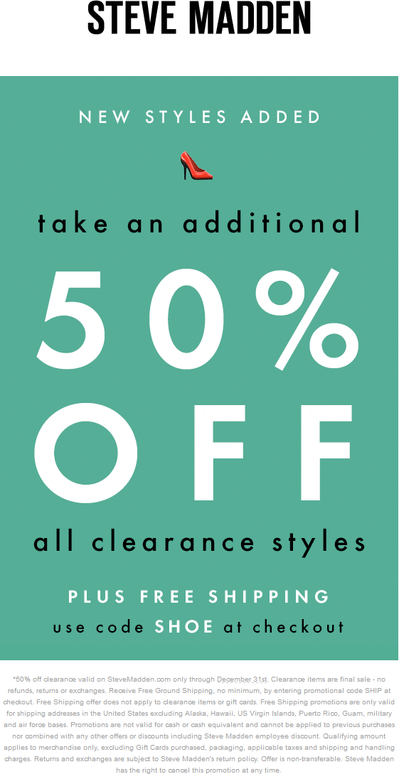 Pinned December 26th: Extra 50% off clearance online at #Steve Madden via  promo
