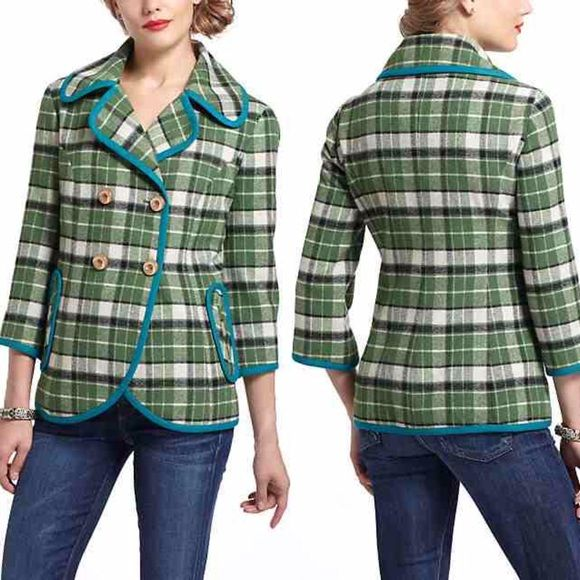 ⭐️LOWEST⭐️ Piped Plaid Coat by Tabitha ⭐️LOWEST PRICE UNLESS BUNDLED⭐️ Like new condition--barely worn! Happy to provide pictures upon request. No modeling. Offers welcome through offer button only. Anthropologie Jackets & Coats