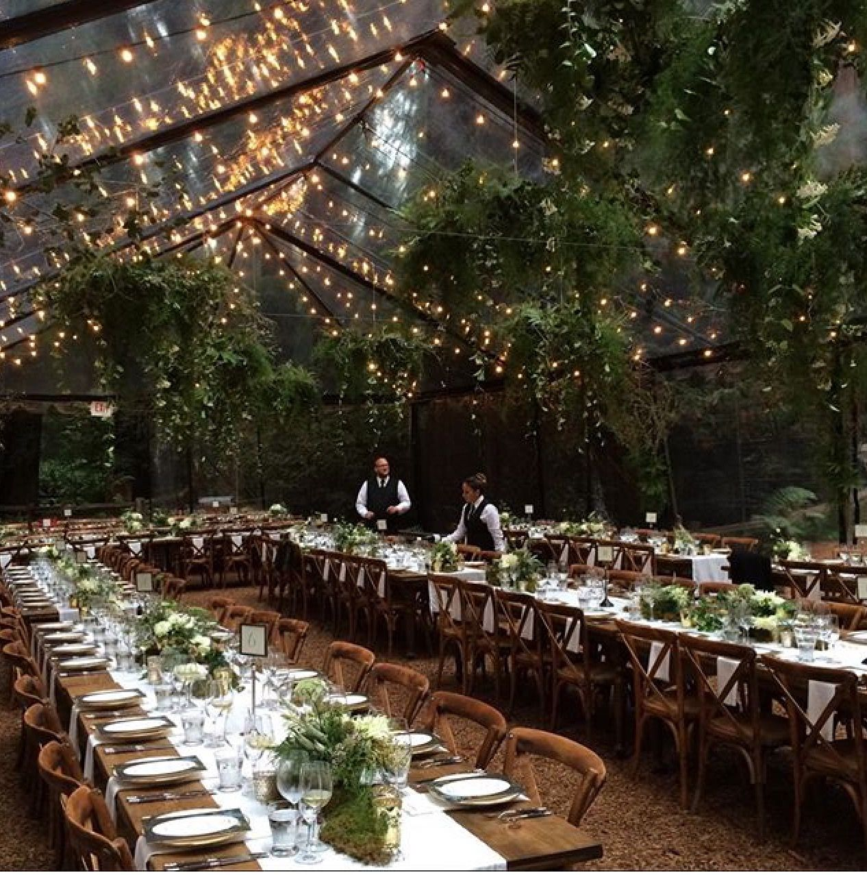 ideas for rustic wedding reception%0A Clear tent and string light dining wedding reception set up  I u    d like to  photograph more of these types of weddings
