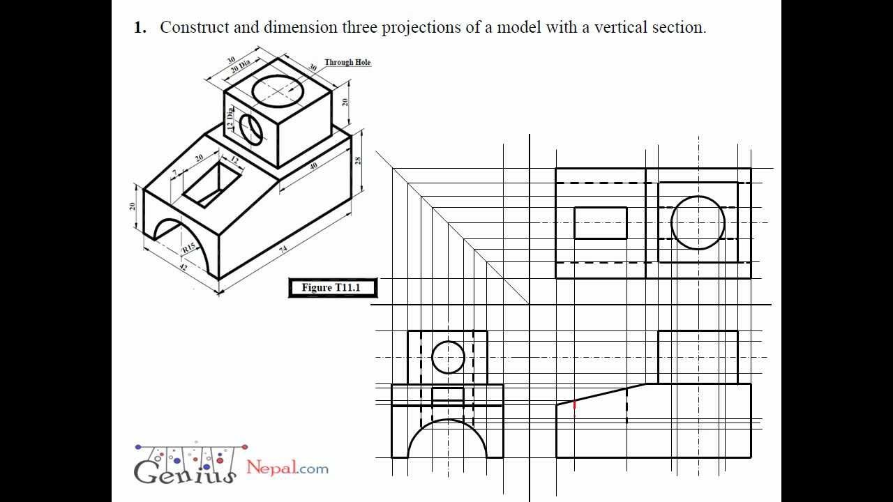 Engineering Drawing Tutorials Orthographic Drawing With Vertical Section T 11 1 Orthographic Drawing Drawing Tutorial Interesting Drawings