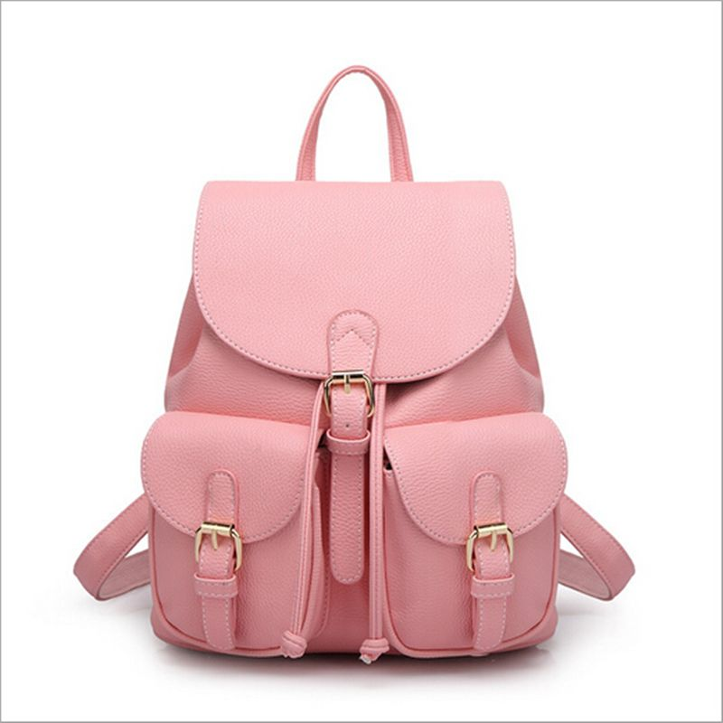 4372d79e639 Barato 2016 nova moda sacos de compras Mulheres legal Leather Backpack  menina saco Grande Escola viagem bolsa de ombro Pure Color doces verde  Preto Bege ...