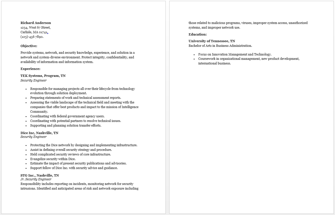 Security Engineer Resume  Resume  Job