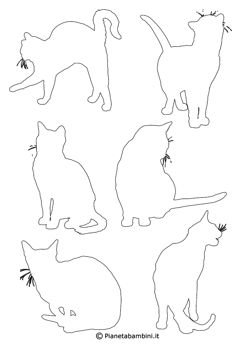 Sagome Di Gatti Da Stampare Colorare E Ritagliare Animali