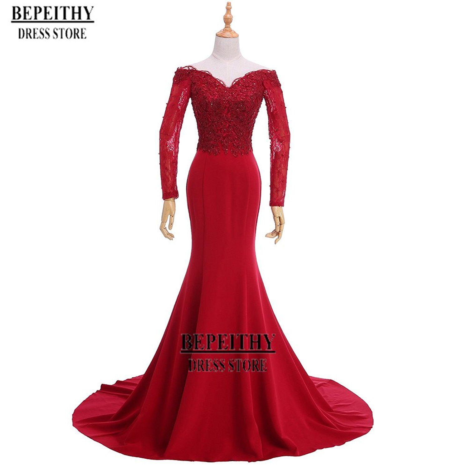 Bepeithy mermaid long evening dress sleeves prom gown click on