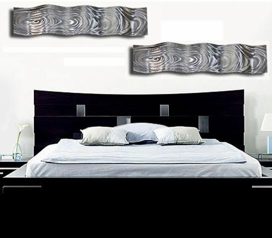 Black Bed With Metal Wall_Art