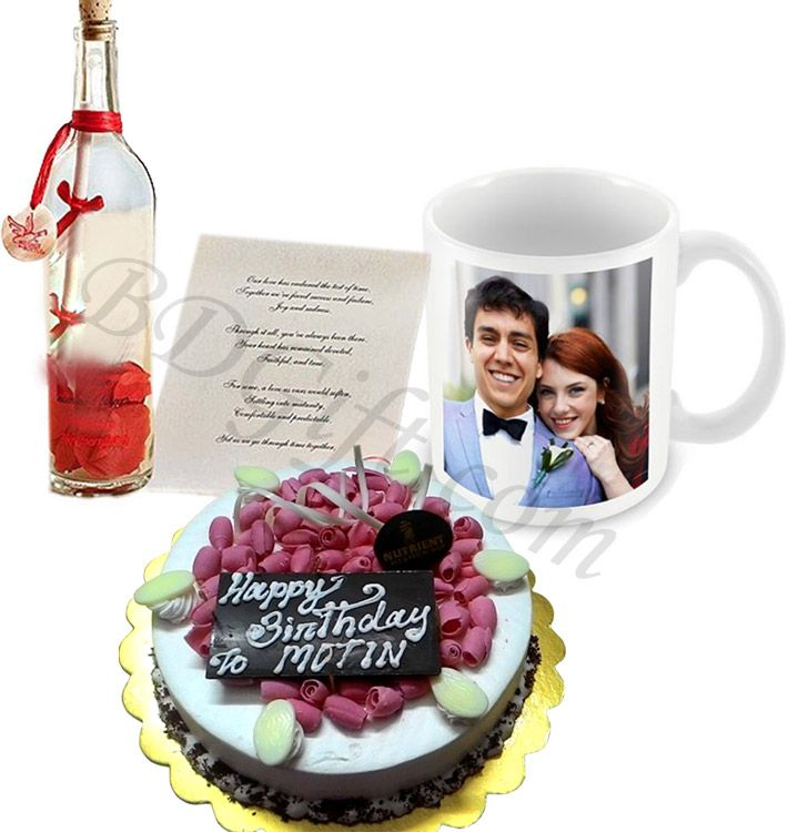 (19) Valentine Round Shaped Cake, Message In A Bottle
