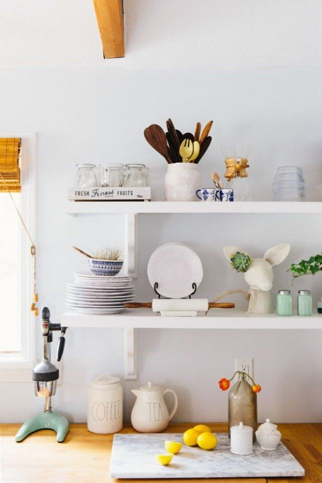 replace bulky kitchen cabinets with shelves to make your space feel rh pinterest it