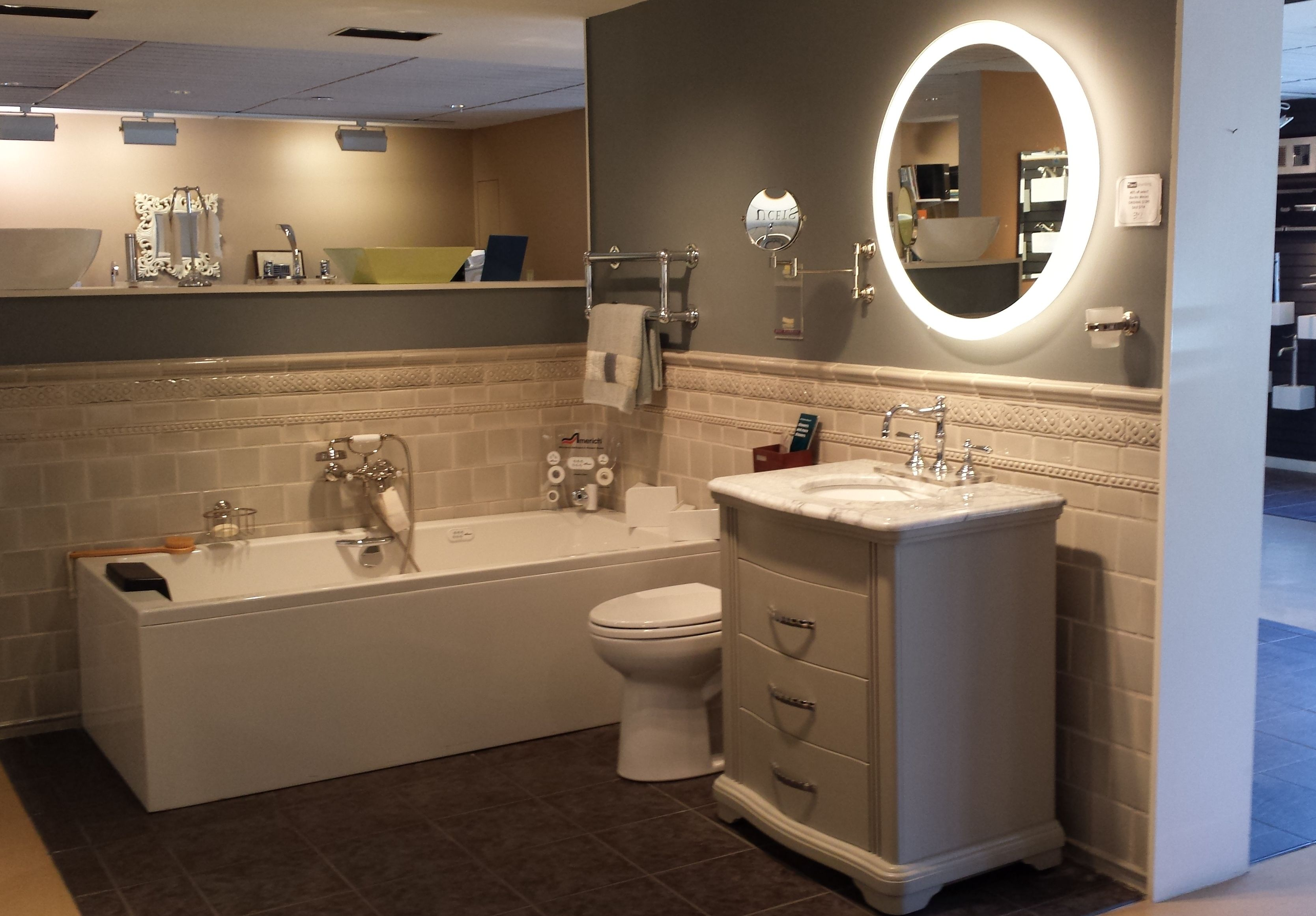 Ryvyr brandy vanity americh tub electric mirror and for Drakes bathrooms