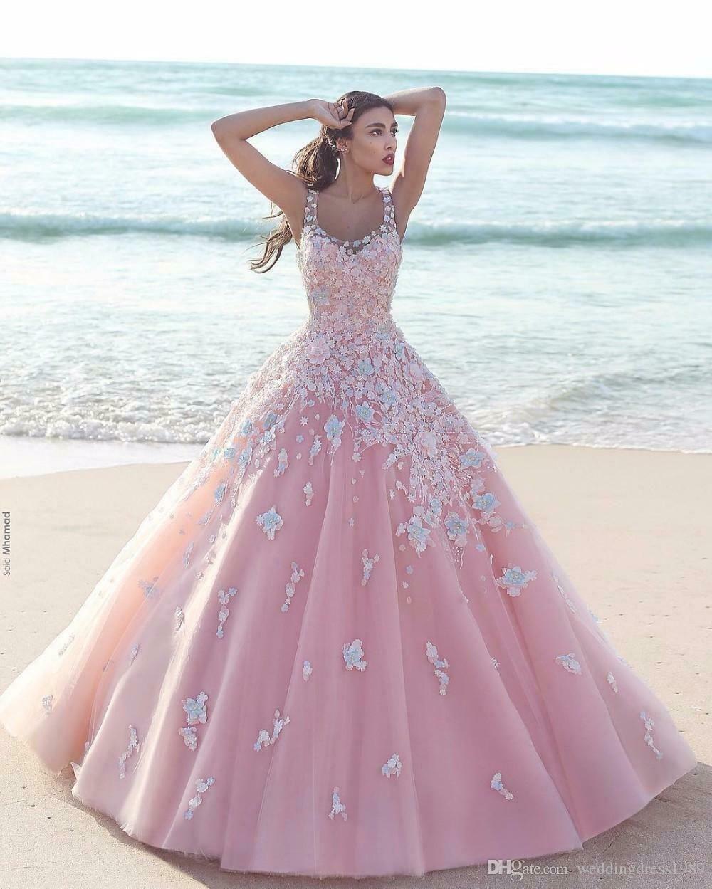 Princess Flower Pink Ball Gown Quinceanera Dress A Line Applique Tulle Evening Flower Dress Id Quinceanera Dresses Pink Pink Ball Gown Sheer Wedding Dress [ 1249 x 1000 Pixel ]