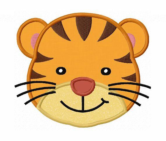 Tiger Face Applique Machine Embroidery Design No 0054 Caras De