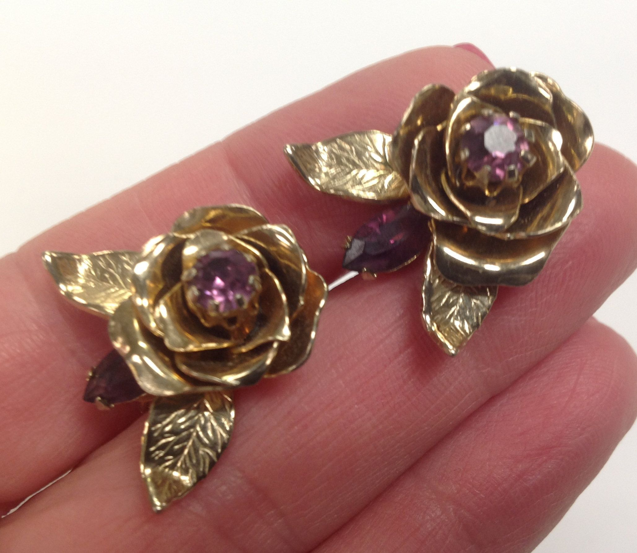 Vintage Coro Realistic Rose Screw back Earrings with