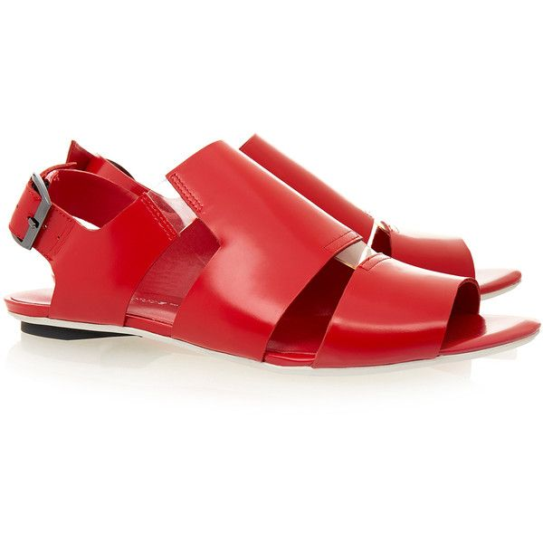 United Nude Kim Lo Patent Red Leather Sandal (1 725 UAH) ❤ liked on Polyvore featuring shoes, sandals, red, open toe shoes, red patent sandals, red leather shoes, leather upper shoes and patent sandals