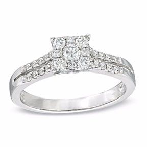1 2 Ct Real Diamond Square Cluster Engagement Ring In 14k
