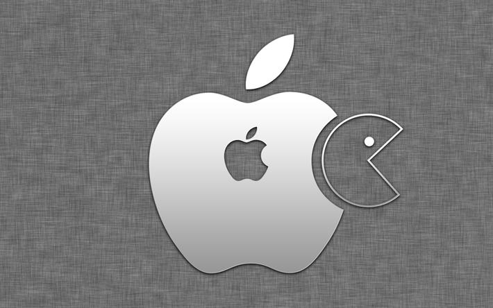 download wallpapers pac man apple logo art creative apple rh pinterest com