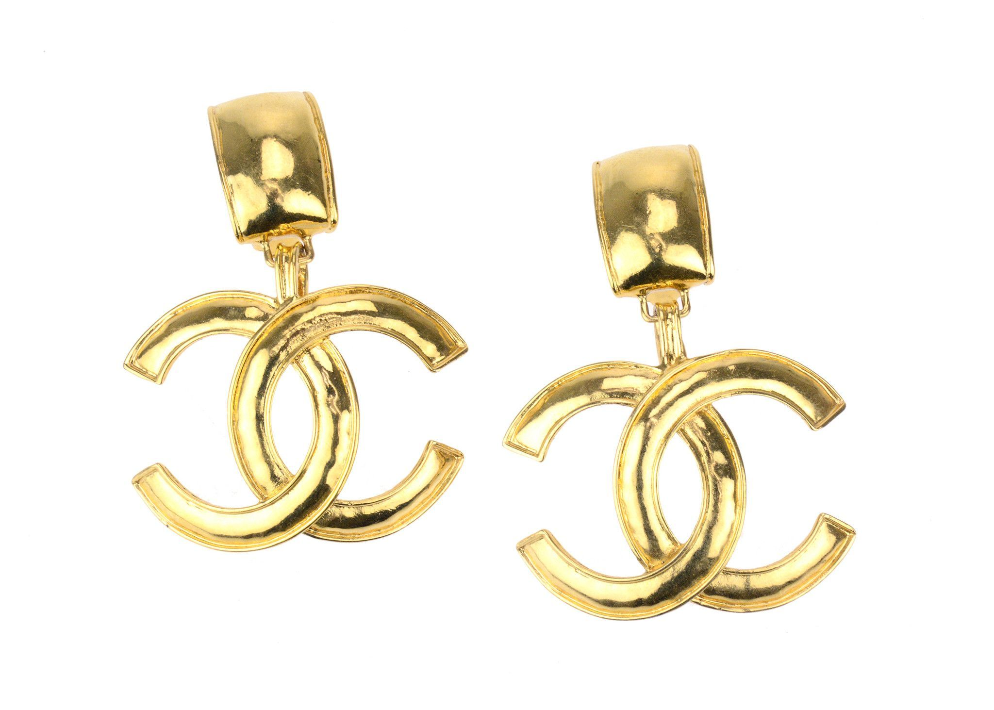 chanel img gold dangle toned earrings petite drop new arrivals hoop vintage