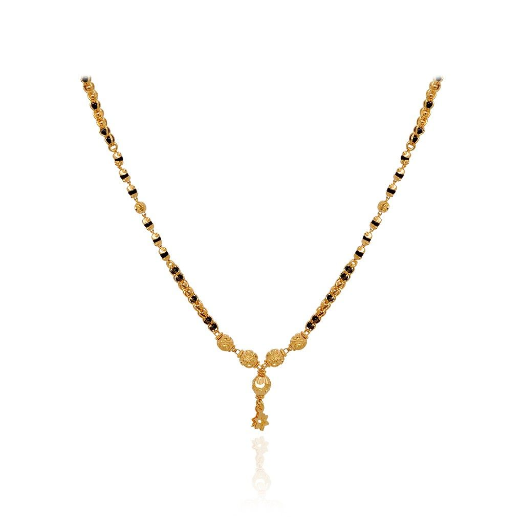 Chains | Fancy Black Bead With Dancing Star Gold Chain | GRT ...