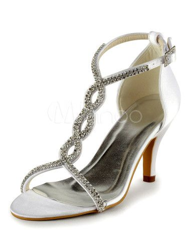 Scarpe Sposa Milanoo.Chic Ivory Pu Leather Rhinestone Open Toe Bridal Shoes Milanoo
