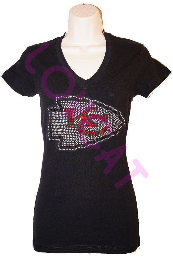 Kansas City Chiefs Jersey Bling Rhinestone Tshirt / by LOVCAT84, $19.99