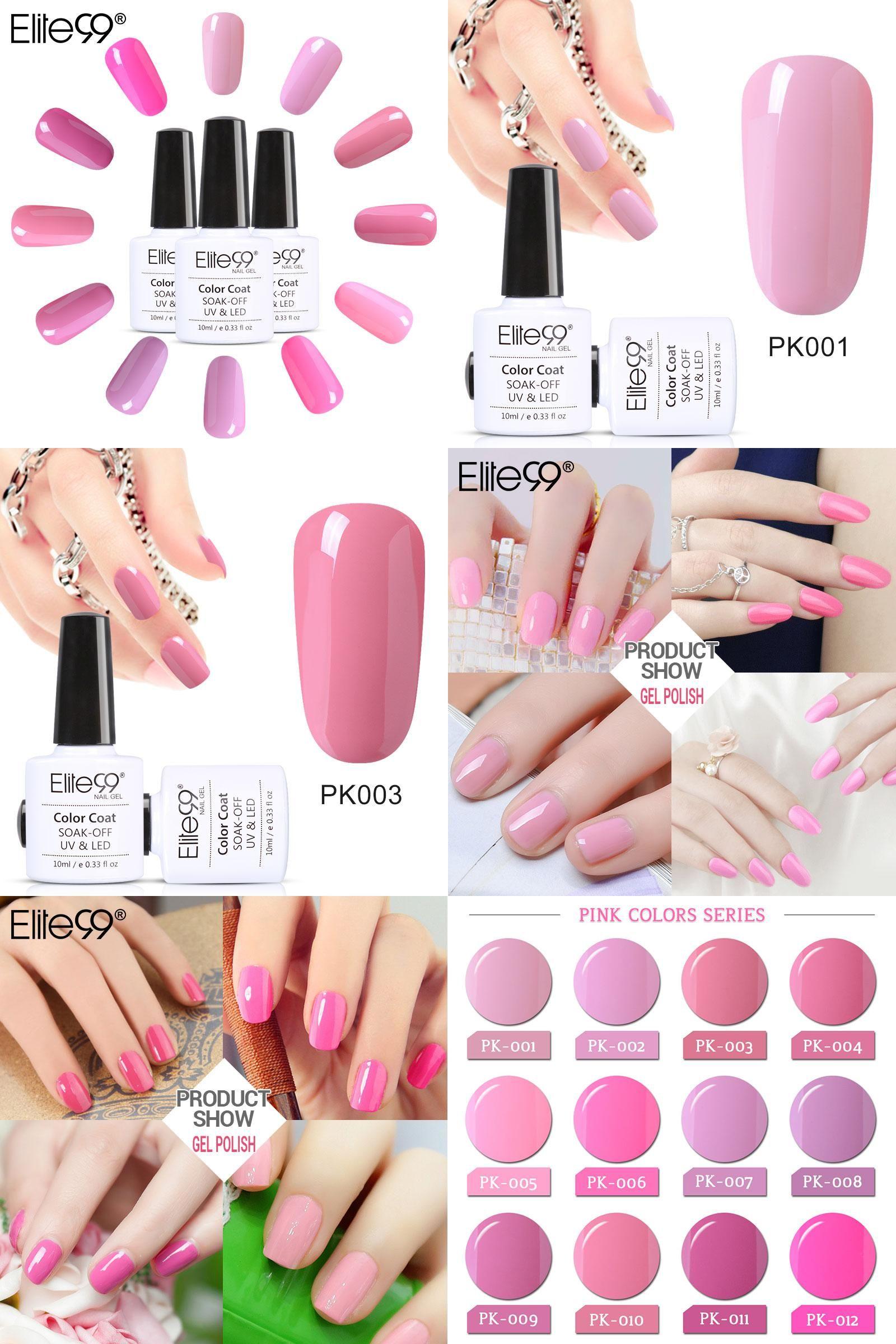 Visit To Buy Elite99 10ml Pink Color Nail Polish Soak Off Uv Led Long Lasting Nail Gel Polish Diy Nail Art Gel Nail Polish Gel Lacquer Gel Nail Art