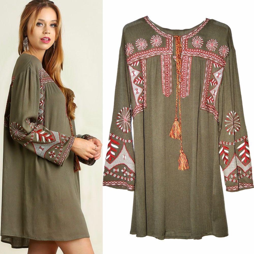 UMGEE Floral Embroidered Tassel Detail Boho Dress USA Boutique