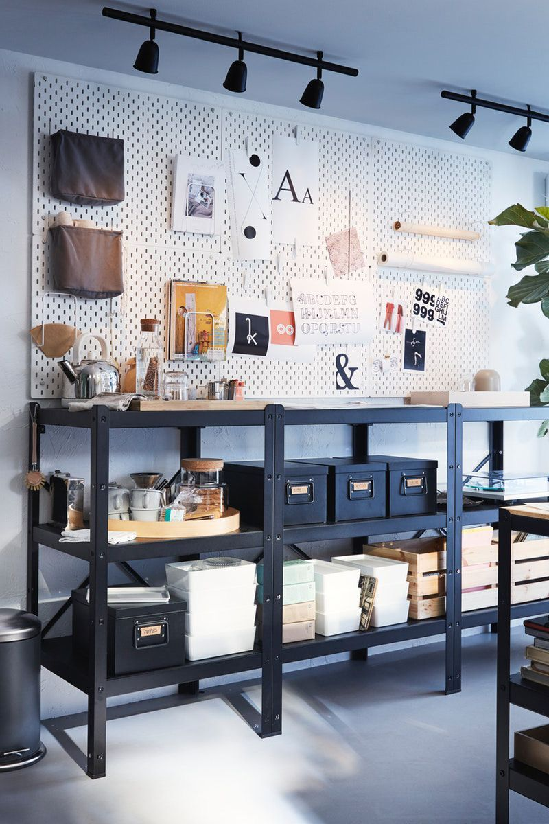 Wandgestaltung Mit Lochplatte Lochplatte Mit Officeinteriorworkspacesstudios Wandgestal In 2020 Ikea Ikea Pegboard Decor