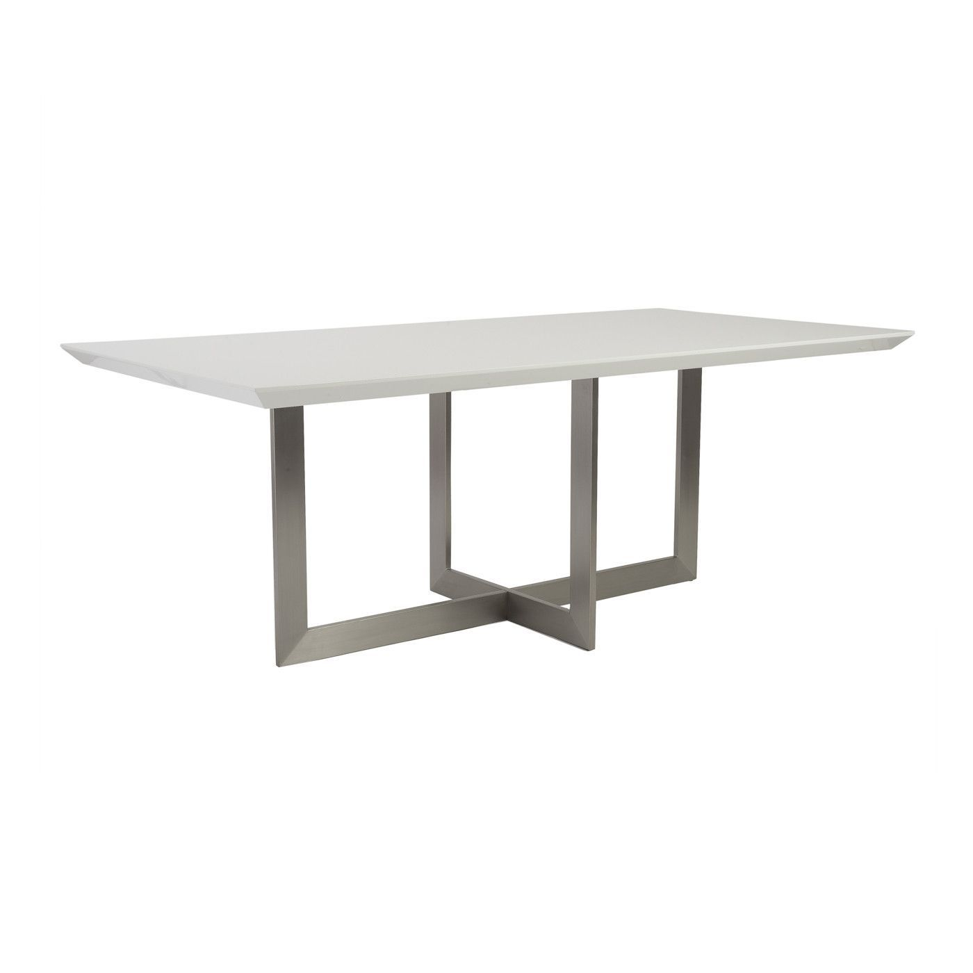 Tosca Dining Table White Lacquer Brushed Stainless Steel