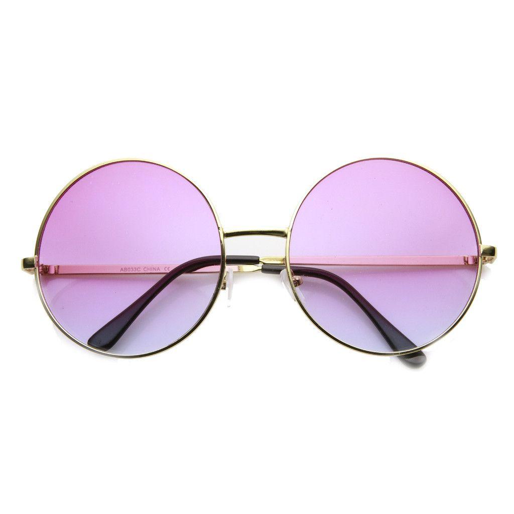 2ae7f6e3f86 Retro Hippie Oversize Round Color Gradient Lens Sunglasses 9578 ...