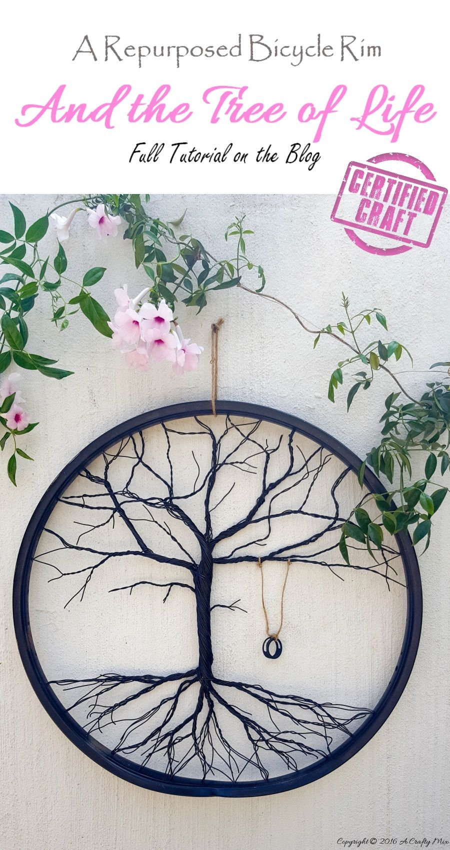 Re-purpose a Bicycle Wheel to Make a Tree of Life | Pinterest ...