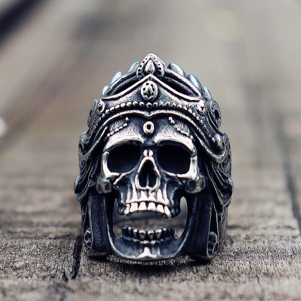 Mahakali Helmet Biker Ring Vintage Look In Stainless Steel