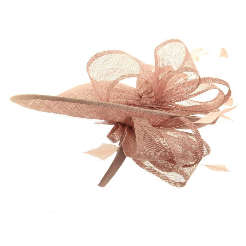 Wedding Fascinator Hat - Light Pink Tilted Disc Sinamay  2b871e58a59