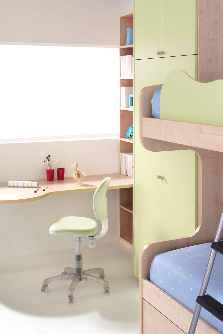 R86 litera con cama nido armario y mesa de estudio for Muebles juveniles a medida barcelona
