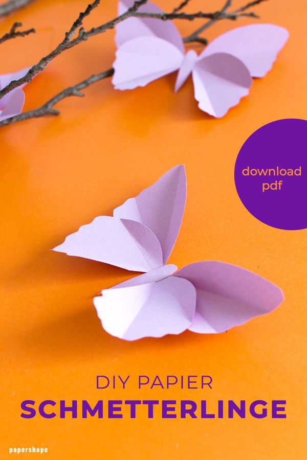 Einfache Schmetterlinge aus Tonpapier basteln (mit Vorlage)