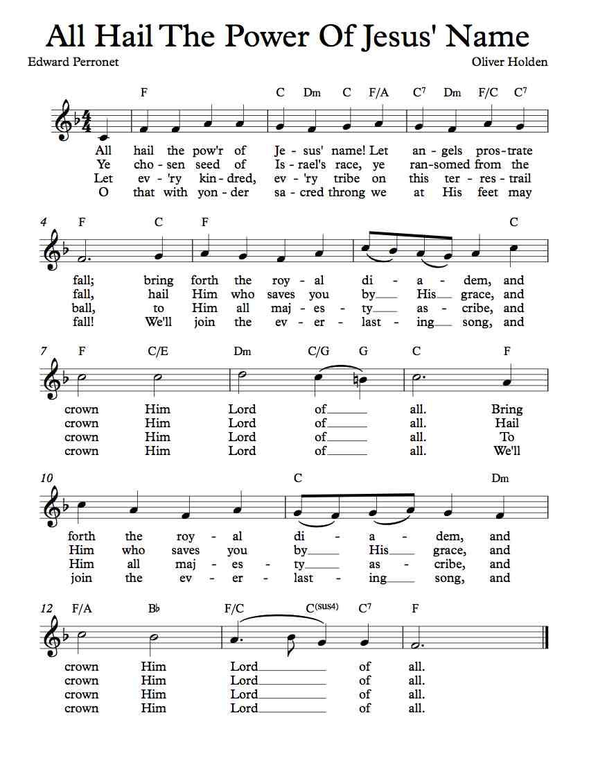 Free Lead Sheet All Hail The Power Of Jesus Name Free Sheet