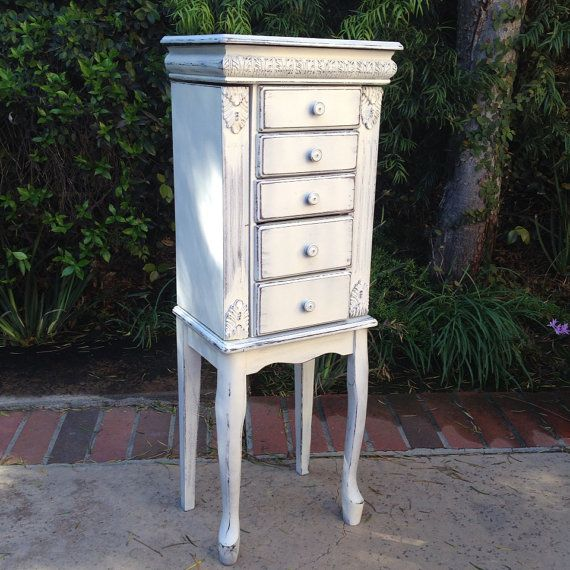 Beautiful white jewelry armoire stand up jewelry box shabby chic