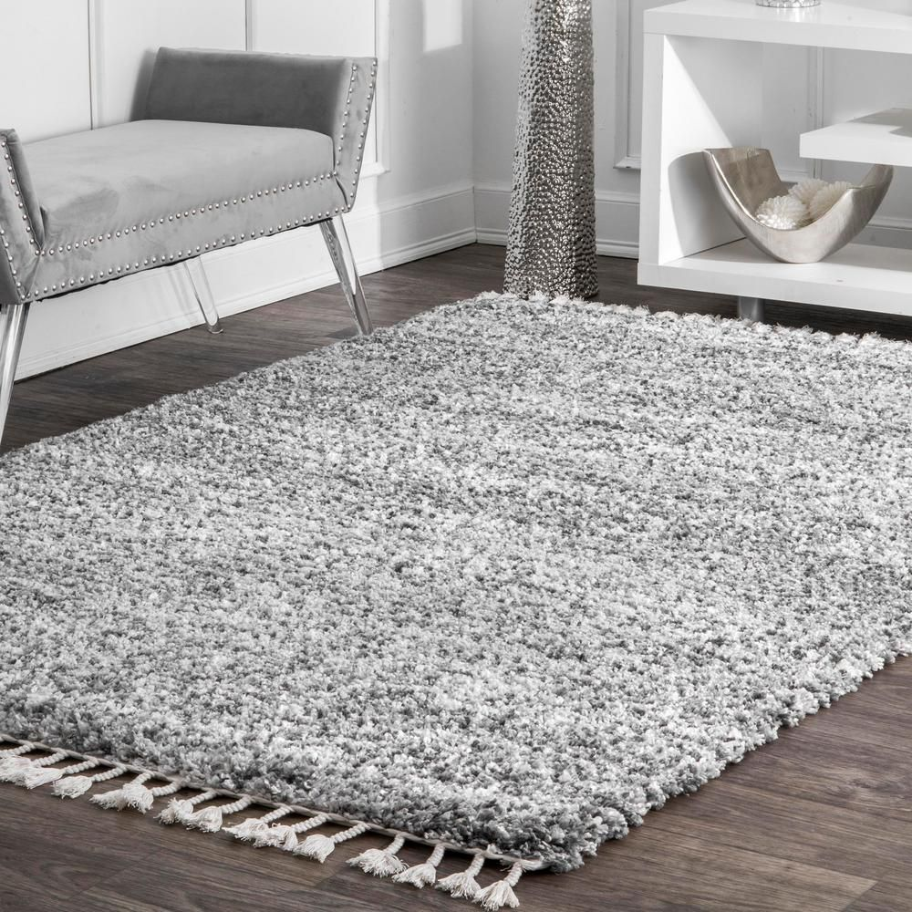 Stylewell Brooke Contemporary Gray 8 Ft X 11 Ft Shag Area Rug Kkel04b 710011 Shag Area Rug Rugs Area Rugs