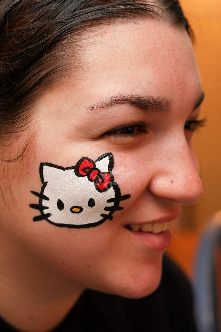 Cheek Face Paint : cheek, paint, Hello, Kitty, Painting, Cheek, Renduh-facepaint, Designs,, Easy,