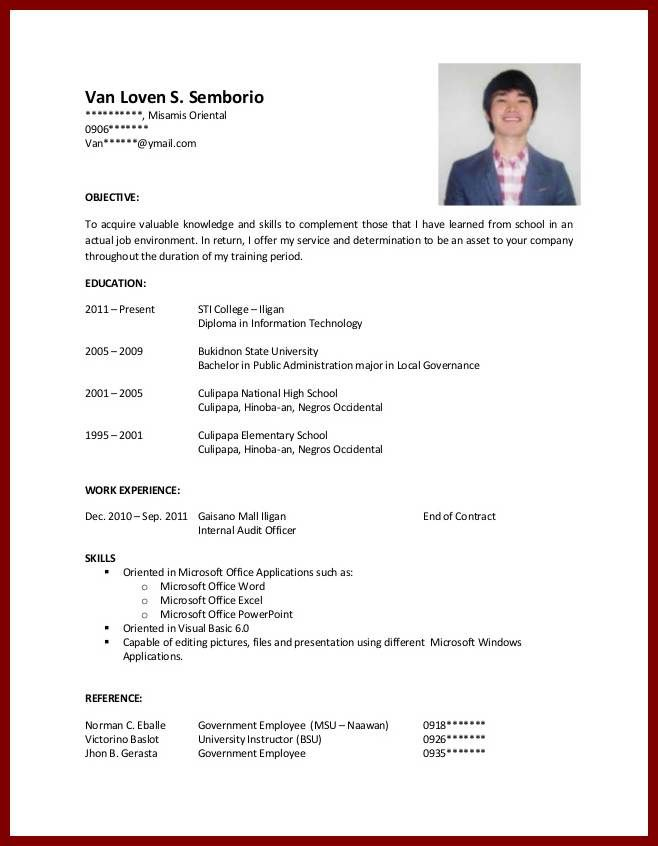 resume samples for college students with experience sample job - resume for job