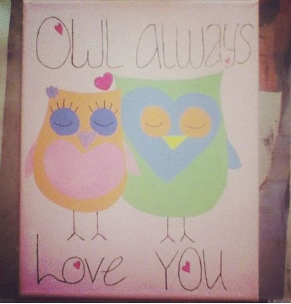 Owl always love you painting.