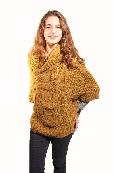 MUSTARD yellow poncho sweater with cowl neck by goodtimesbarcelona ...