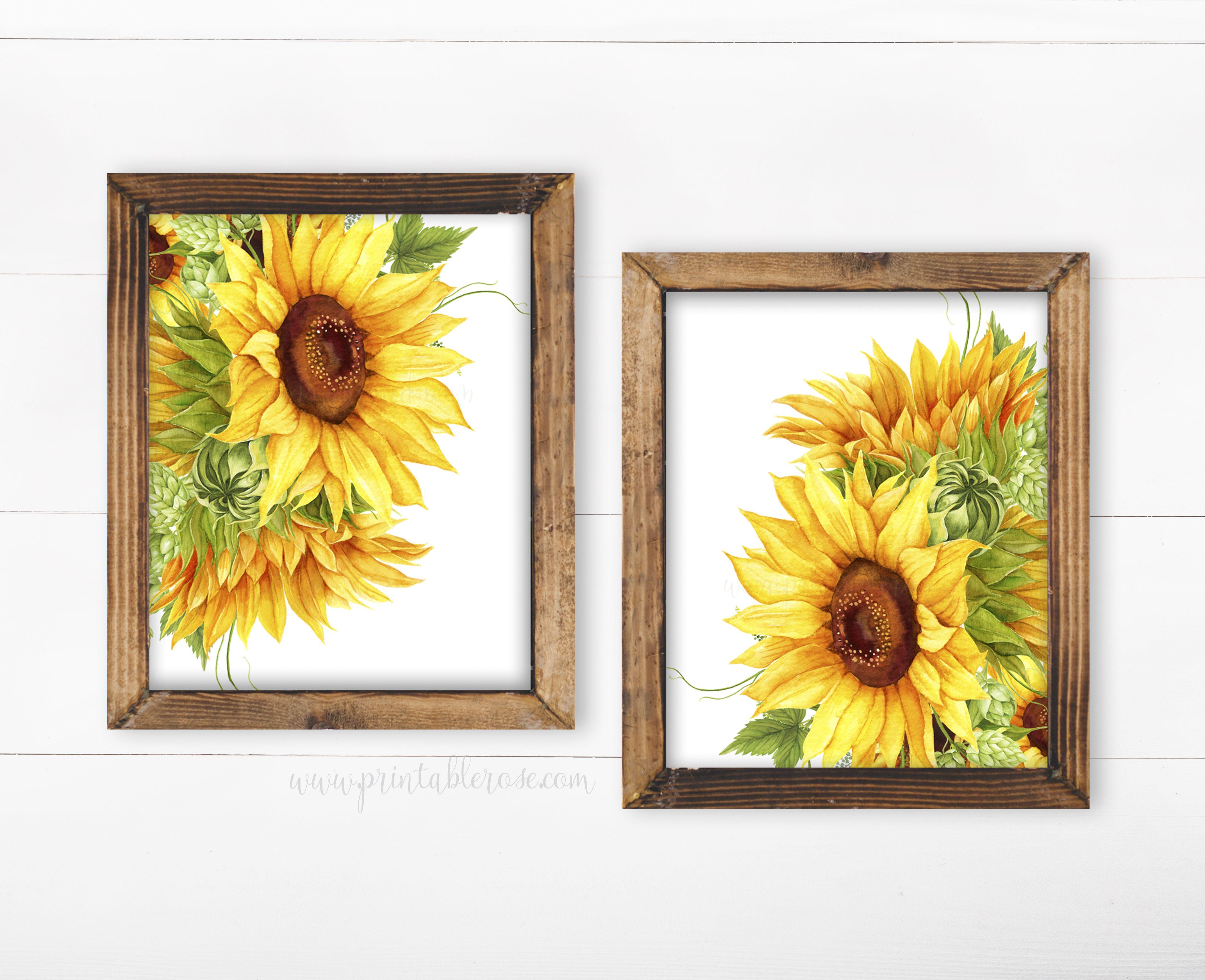 Sunflower Wall Decor Wall Art Printable Flower Decor Etsy In 2021 Sunflower Wall Decor Sunflower Wall Art Flower Room Decor