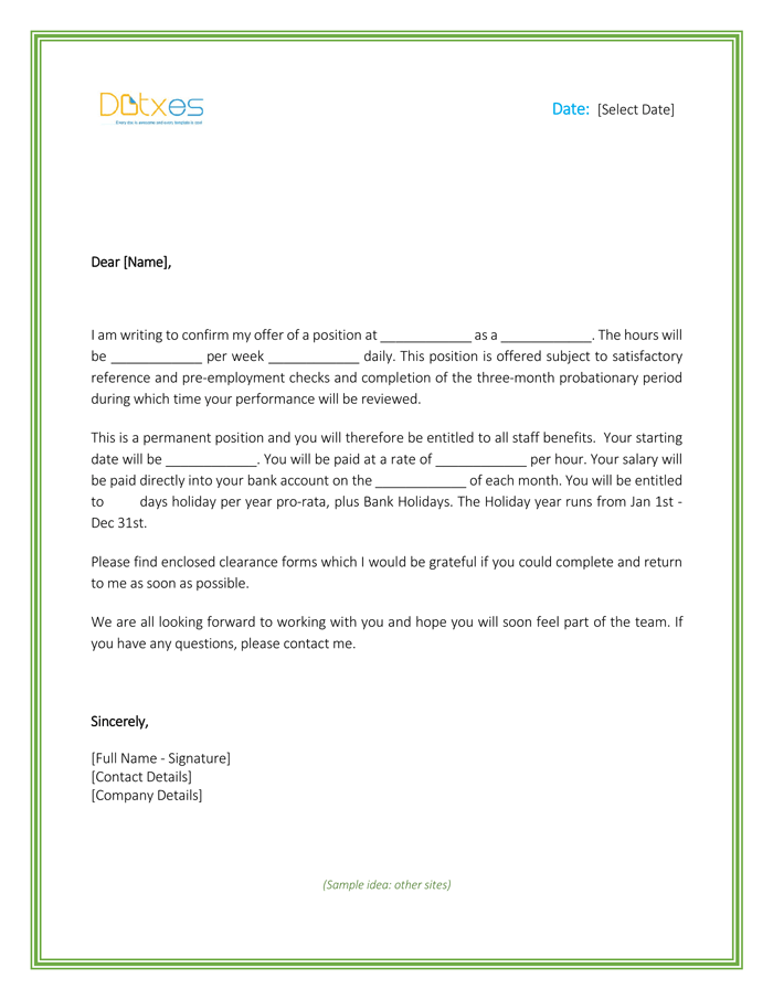 Job Offer Letter Template For Word Letter Templates